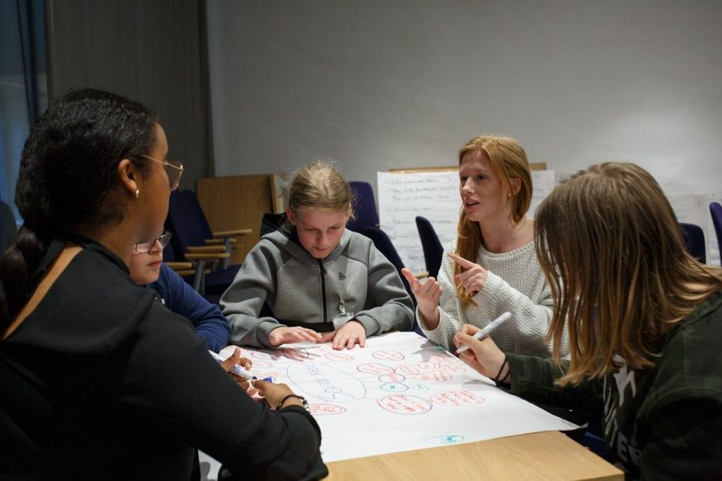Grupo de alunos realizando trabalho em cartolina