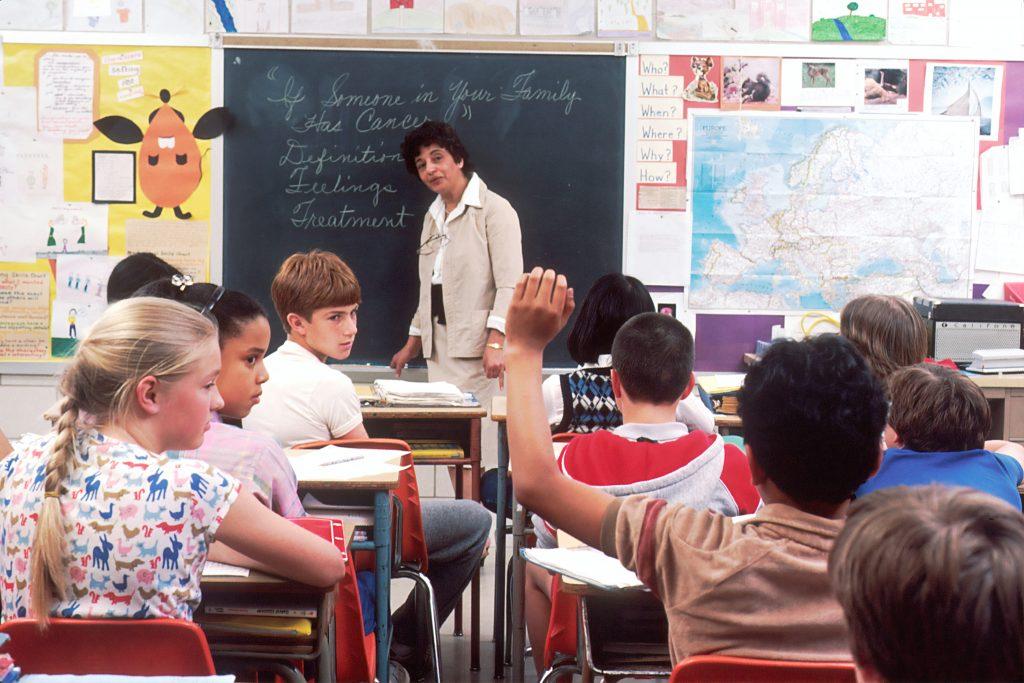 Professora frente a uma sala de alunos do ensino fundamental, na qual há um aluno com a mão levantada para fazer uma questão, demonstrando a participação dos alunos nas aulas.